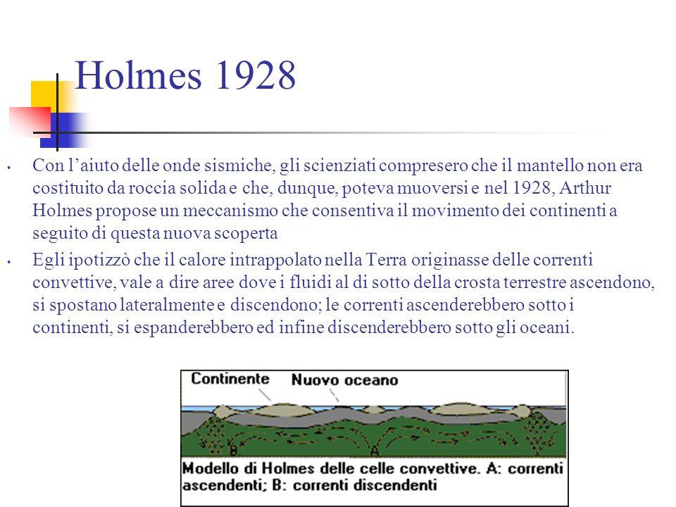 Holmes 1928 Con laiuto delle onde sismiche, gli scienziati compresero che il mantello non era costituito da roccia solida e che, dunque, poteva muoversi e nel 1928, Arthur Holmes propose un meccanismo che consentiva il movimento dei continenti a seguito di questa nuova scoperta Egli ipotizzò che il calore intrappolato nella Terra originasse delle correnti convettive, vale a dire aree dove i fluidi al di sotto della crosta terrestre ascendono, si spostano lateralmente e discendono; le correnti ascenderebbero sotto i continenti, si espanderebbero ed infine discenderebbero sotto gli oceani.