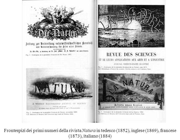 Frontespizi dei primi numeri della rivista Natura in tedesco (1852), inglese (1869), francese (1873), italiano (1884)