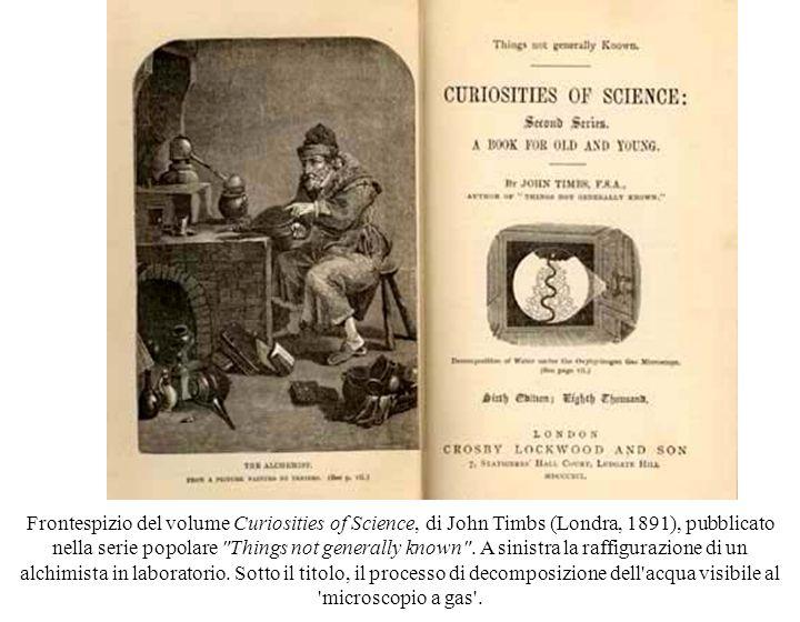 Frontespizio del volume Curiosities of Science, di John Timbs (Londra, 1891), pubblicato nella serie popolare Things not generally known .