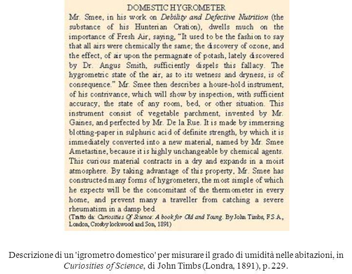 Descrizione di un igrometro domestico per misurare il grado di umidità nelle abitazioni, in Curiosities of Science, di John Timbs (Londra, 1891), p.