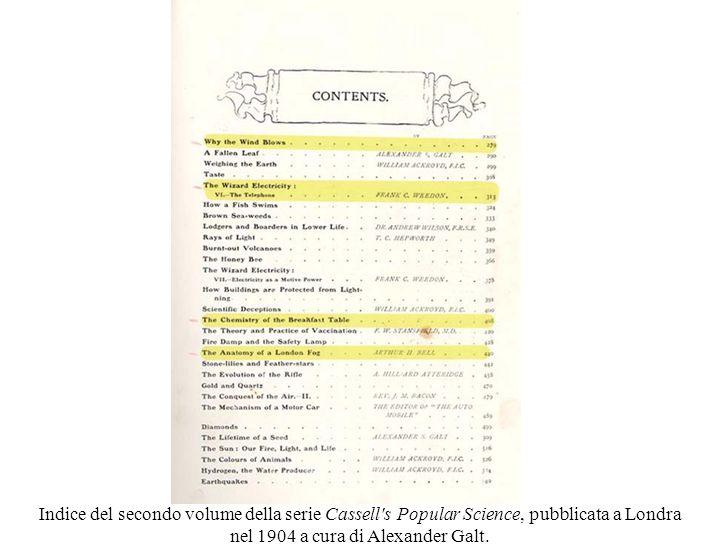 Indice del secondo volume della serie Cassell s Popular Science, pubblicata a Londra nel 1904 a cura di Alexander Galt.