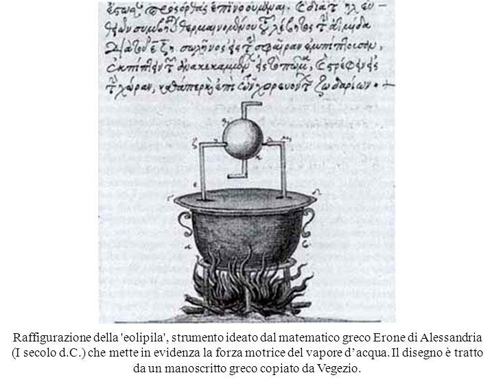 Raffigurazione della eolipila , strumento ideato dal matematico greco Erone di Alessandria (I secolo d.C.) che mette in evidenza la forza motrice del vapore dacqua.