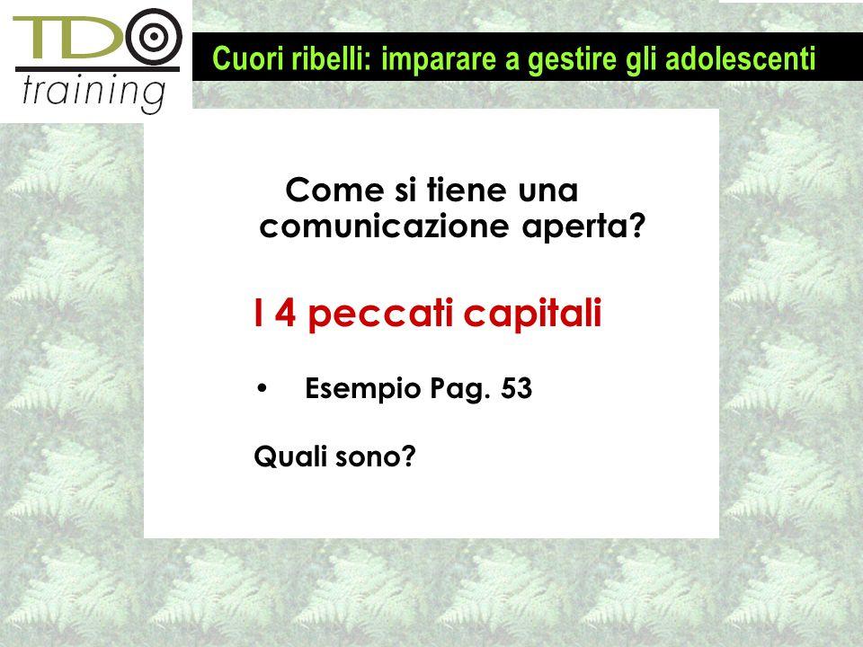 Come si tiene una comunicazione aperta? I 4 peccati capitali Esempio Pag. 53 Quali sono? Cuori ribelli: imparare a gestire gli adolescenti