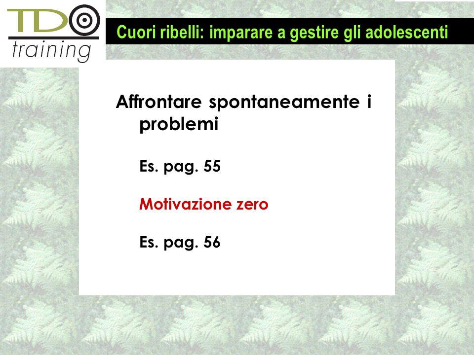Affrontare spontaneamente i problemi Es.pag. 55 Motivazione zero Es.