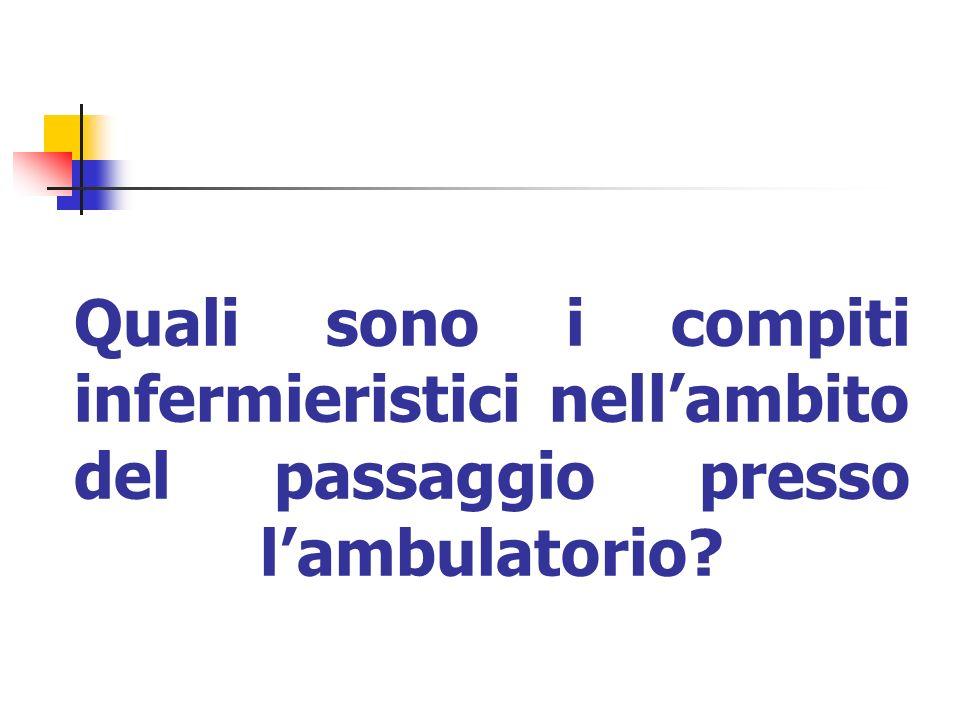 Quali sono i compiti infermieristici nellambito del passaggio presso lambulatorio?