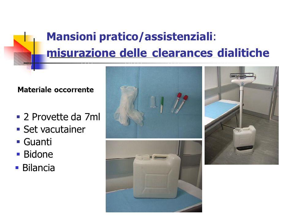 Materiale occorrente 2 Provette da 7ml Set vacutainer Guanti Bidone Bilancia Mansioni pratico/assistenziali: misurazione delle clearances dialitiche