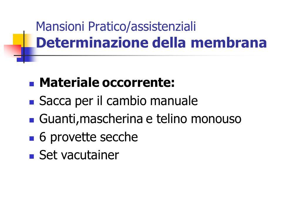 Mansioni Pratico/assistenziali Determinazione della membrana Materiale occorrente: Sacca per il cambio manuale Guanti,mascherina e telino monouso 6 pr