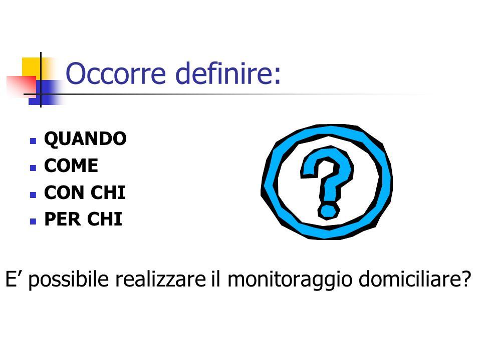 Occorre definire: QUANDO COME CON CHI PER CHI E possibile realizzare il monitoraggio domiciliare?