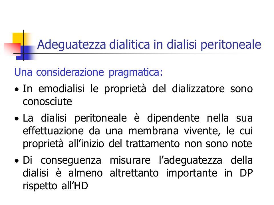 Una considerazione pragmatica: In emodialisi le proprietà del dializzatore sono conosciute La dialisi peritoneale è dipendente nella sua effettuazione