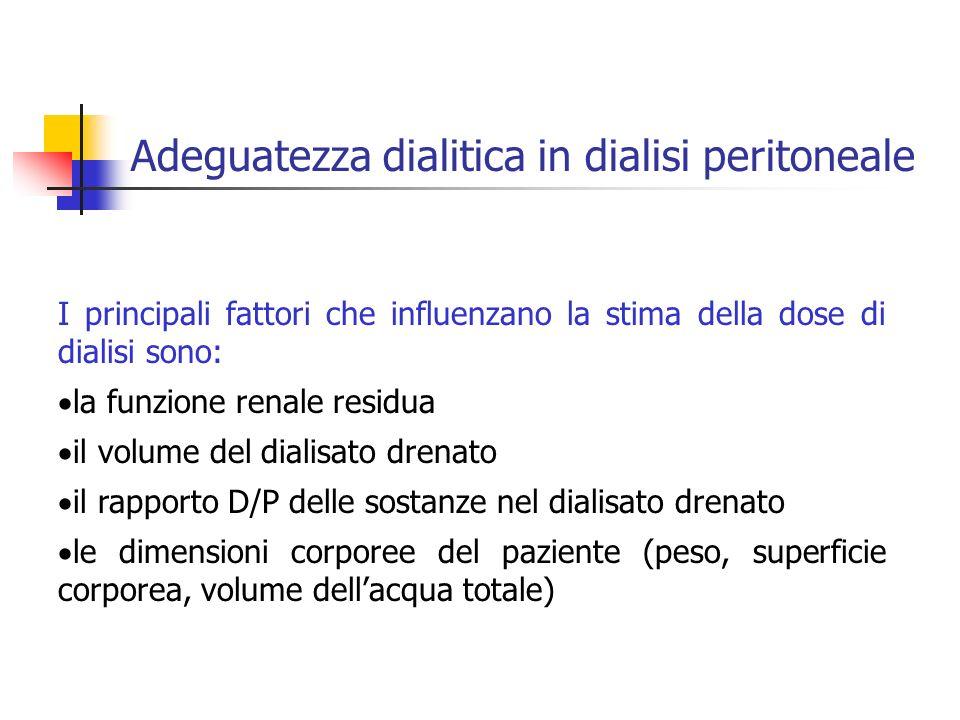 I principali fattori che influenzano la stima della dose di dialisi sono: la funzione renale residua il volume del dialisato drenato il rapporto D/P d