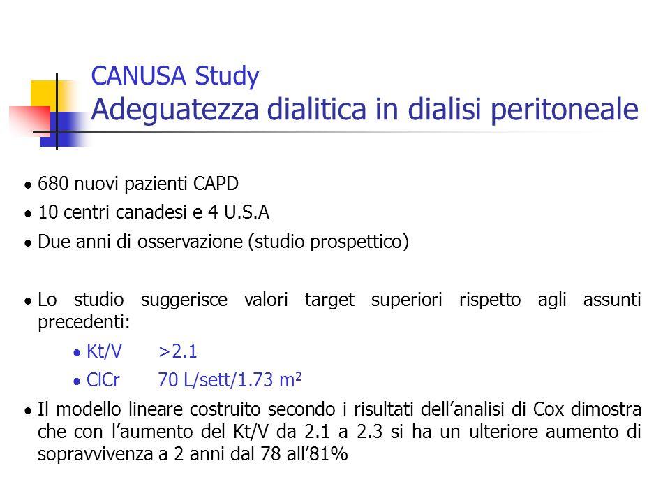 680 nuovi pazienti CAPD 10 centri canadesi e 4 U.S.A Due anni di osservazione (studio prospettico) Lo studio suggerisce valori target superiori rispet