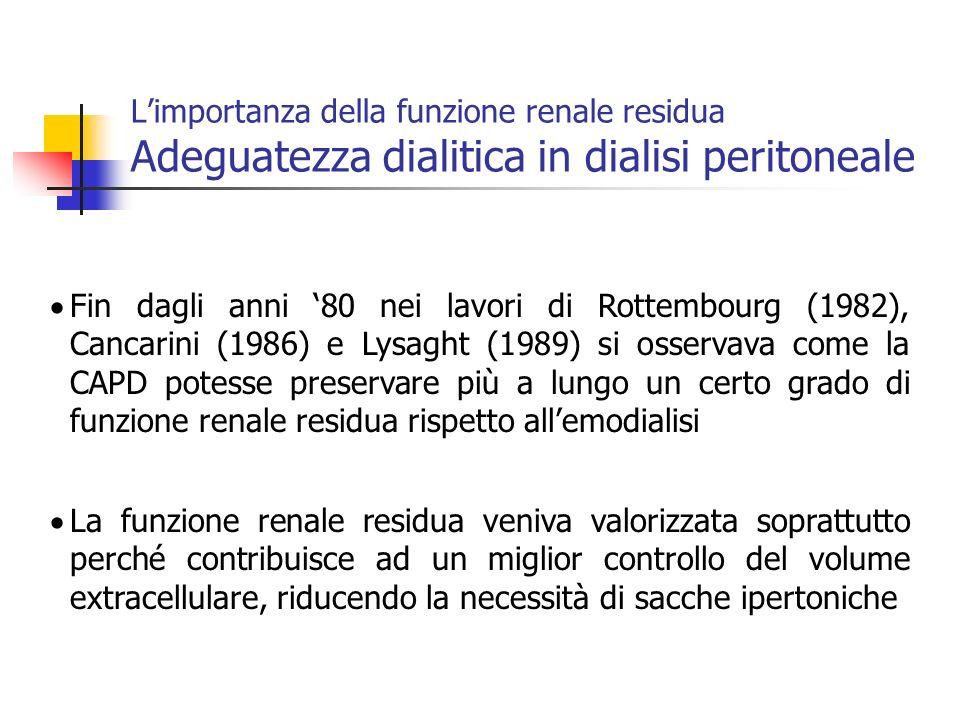 Fin dagli anni 80 nei lavori di Rottembourg (1982), Cancarini (1986) e Lysaght (1989) si osservava come la CAPD potesse preservare più a lungo un cert