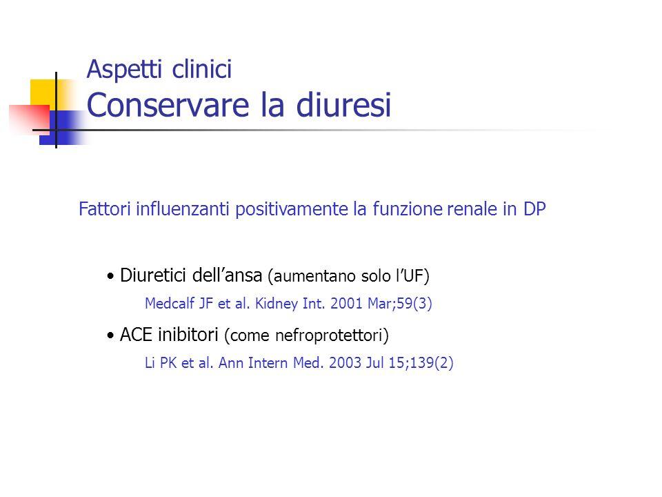 Aspetti clinici Conservare la diuresi Fattori influenzanti positivamente la funzione renale in DP Diuretici dellansa (aumentano solo lUF) Medcalf JF e