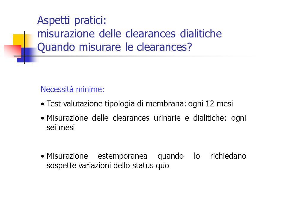 Aspetti pratici: misurazione delle clearances dialitiche Quando misurare le clearances? Necessità minime: Test valutazione tipologia di membrana: ogni