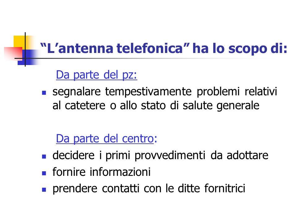 Lantenna telefonica ha lo scopo di: Da parte del pz: segnalare tempestivamente problemi relativi al catetere o allo stato di salute generale Da parte