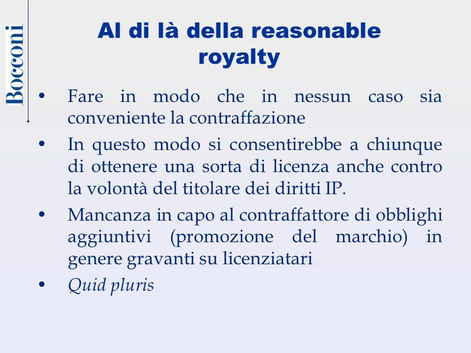 Al di là della reasonable royalty Fare in modo che in nessun caso sia conveniente la contraffazione In questo modo si consentirebbe a chiunque di otte