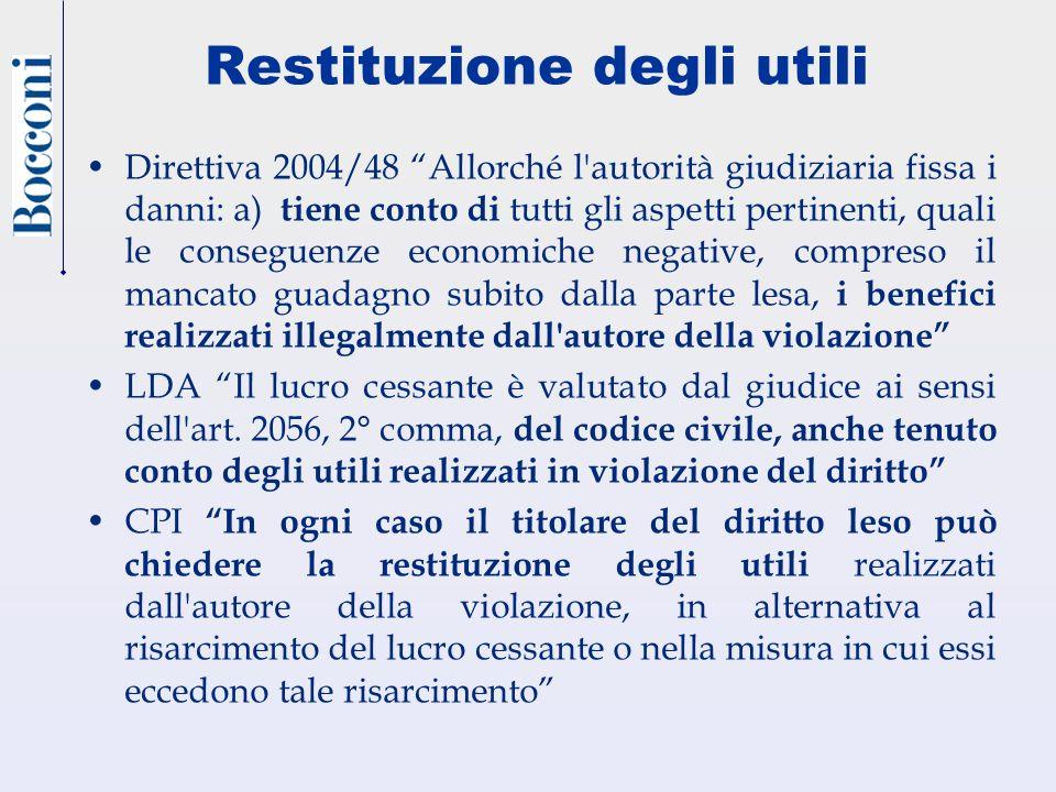 Restituzione degli utili Direttiva 2004/48 Allorché l'autorità giudiziaria fissa i danni: a) tiene conto di tutti gli aspetti pertinenti, quali le con