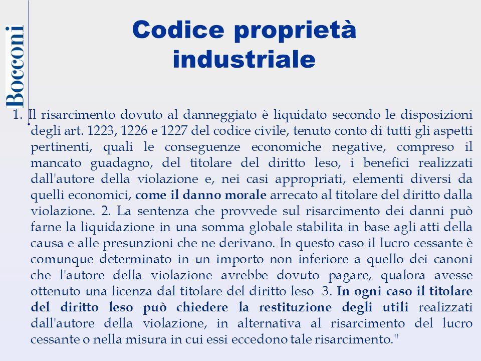 Codice proprietà industriale 1. Il risarcimento dovuto al danneggiato è liquidato secondo le disposizioni degli art. 1223, 1226 e 1227 del codice civi