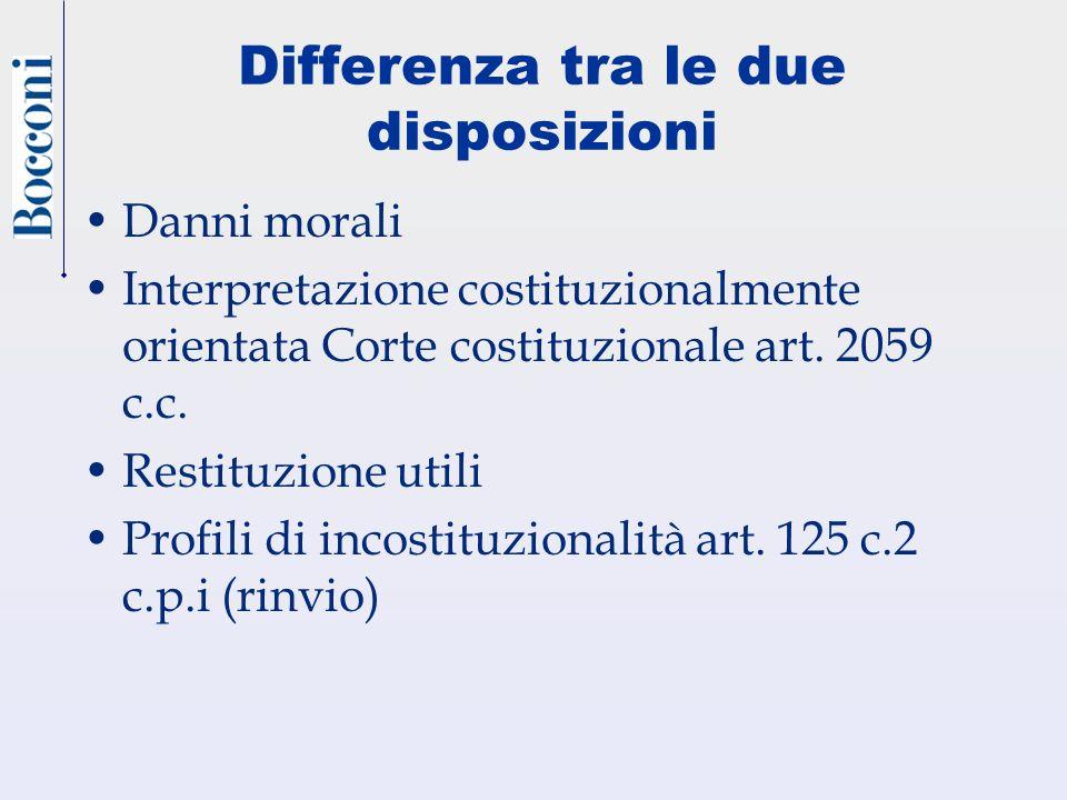 Differenza tra le due disposizioni Danni morali Interpretazione costituzionalmente orientata Corte costituzionale art. 2059 c.c. Restituzione utili Pr