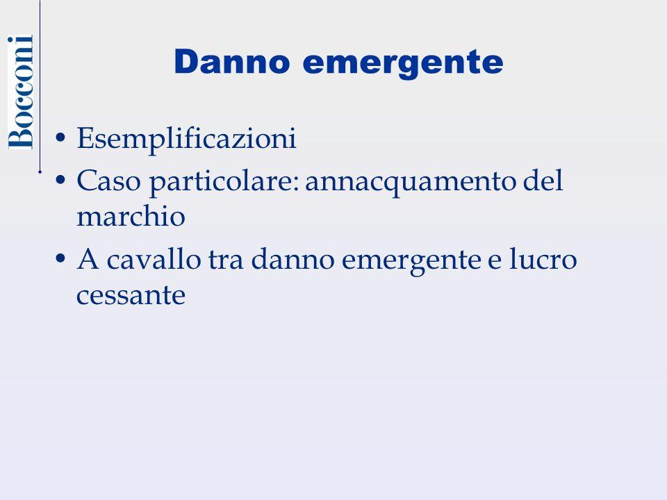 Danno emergente Esemplificazioni Caso particolare: annacquamento del marchio A cavallo tra danno emergente e lucro cessante