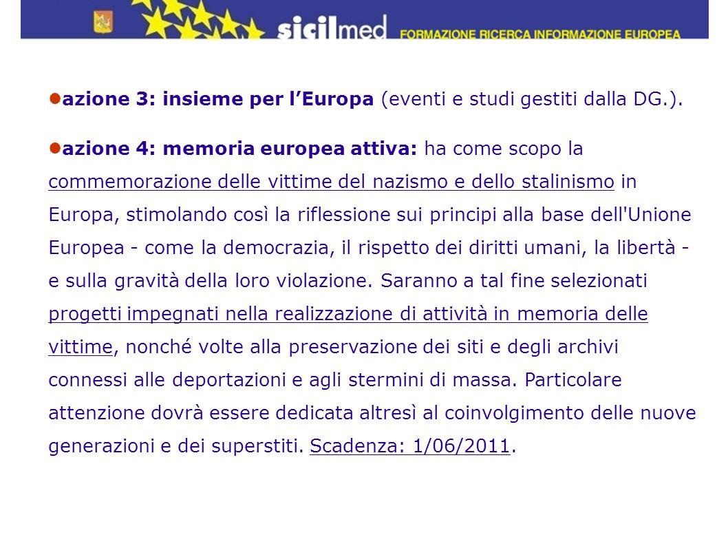 azione 3: insieme per lEuropa (eventi e studi gestiti dalla DG.). azione 4: memoria europea attiva: ha come scopo la commemorazione delle vittime del