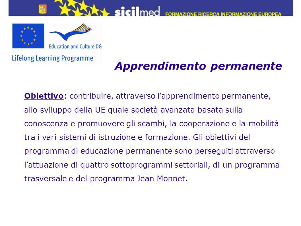 Apprendimento permanente Obiettivo: contribuire, attraverso lapprendimento permanente, allo sviluppo della UE quale società avanzata basata sulla cono