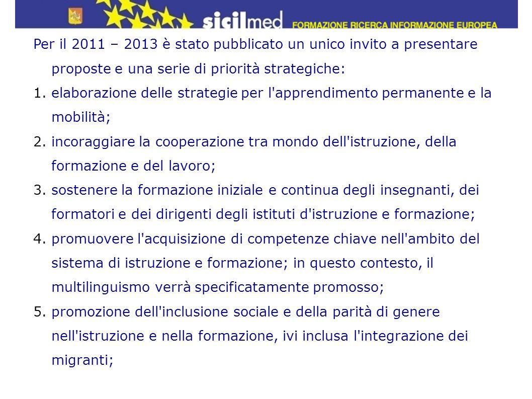 Per il 2011 – 2013 è stato pubblicato un unico invito a presentare proposte e una serie di priorità strategiche: 1.elaborazione delle strategie per l'