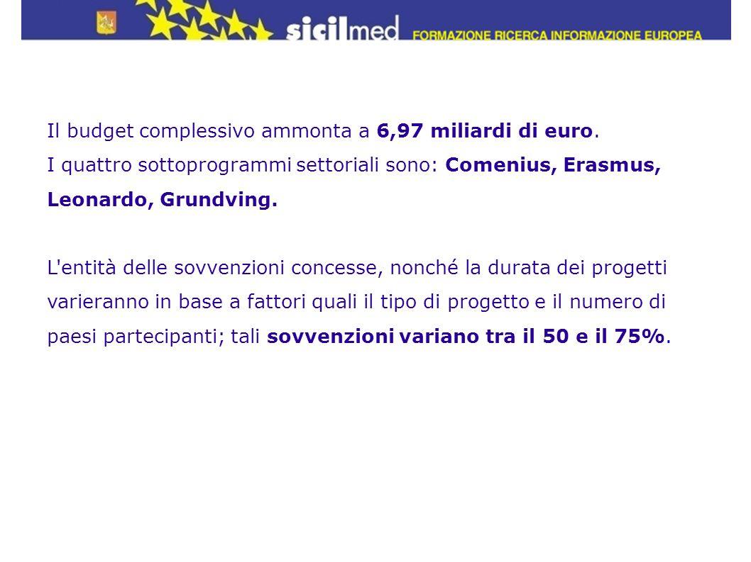 Il budget complessivo ammonta a 6,97 miliardi di euro. I quattro sottoprogrammi settoriali sono: Comenius, Erasmus, Leonardo, Grundving. L'entità dell