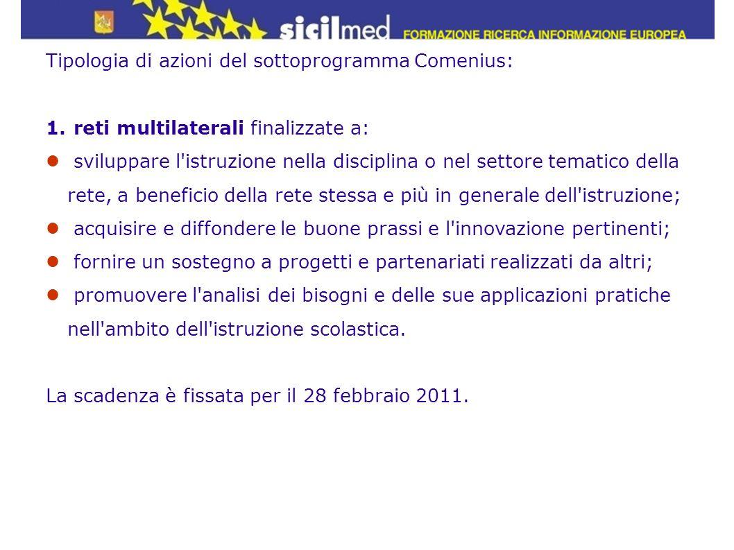 Tipologia di azioni del sottoprogramma Comenius: 1. reti multilaterali finalizzate a: sviluppare l'istruzione nella disciplina o nel settore tematico