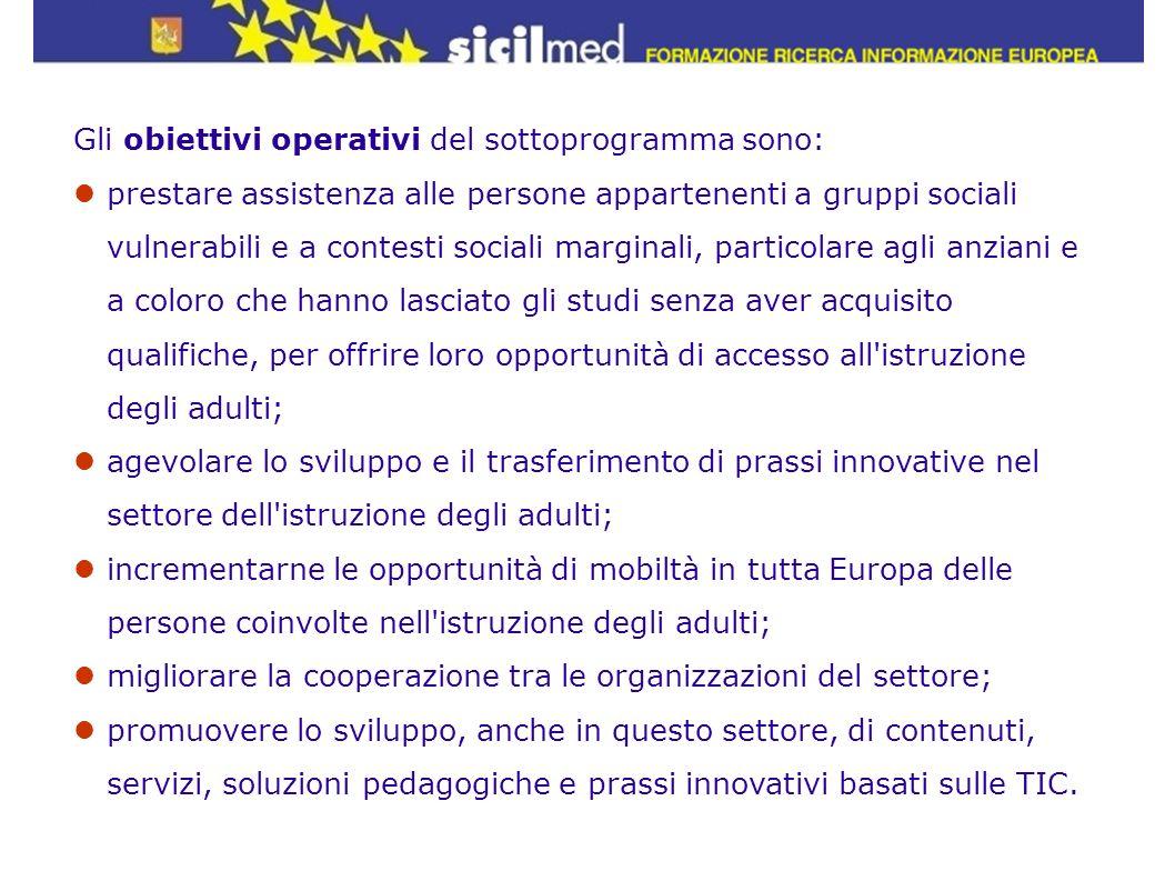 Gli obiettivi operativi del sottoprogramma sono: prestare assistenza alle persone appartenenti a gruppi sociali vulnerabili e a contesti sociali margi