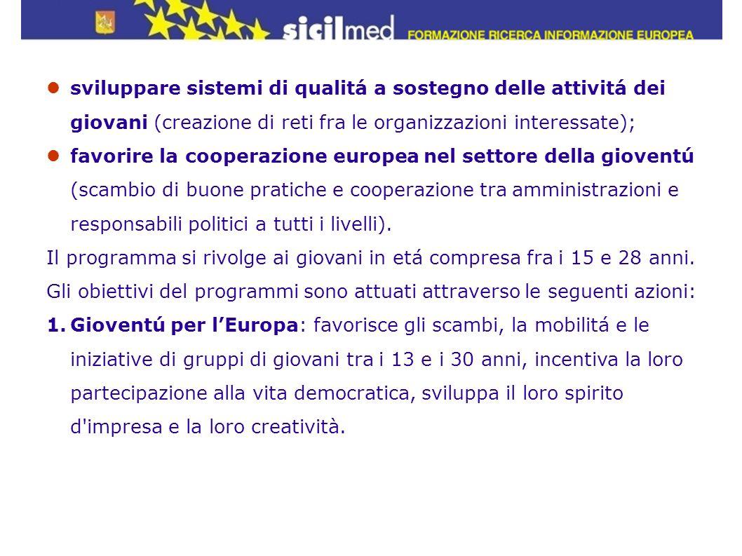 sviluppare sistemi di qualitá a sostegno delle attivitá dei giovani (creazione di reti fra le organizzazioni interessate); favorire la cooperazione eu