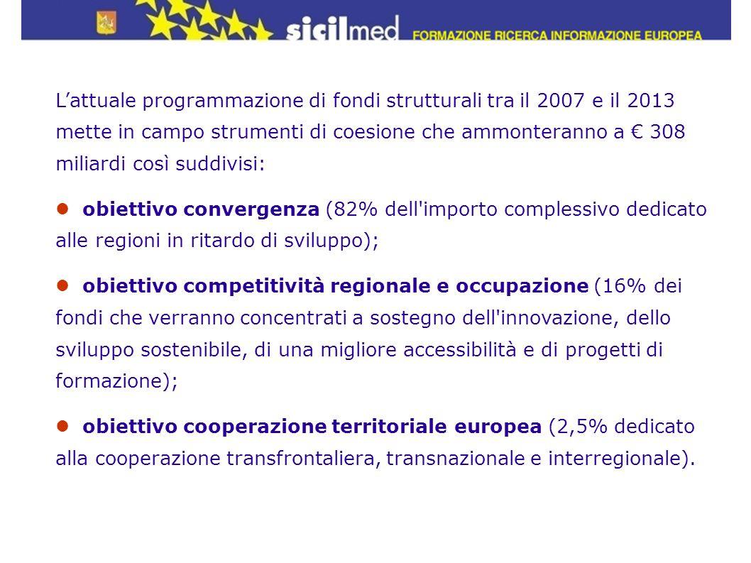 Lattuale programmazione di fondi strutturali tra il 2007 e il 2013 mette in campo strumenti di coesione che ammonteranno a 308 miliardi così suddivisi