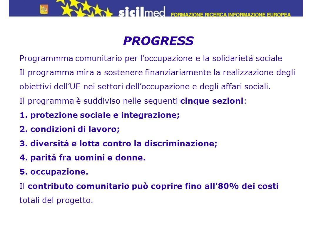 PROGRESS Programmma comunitario per loccupazione e la solidarietá sociale Il programma mira a sostenere finanziariamente la realizzazione degli obiett