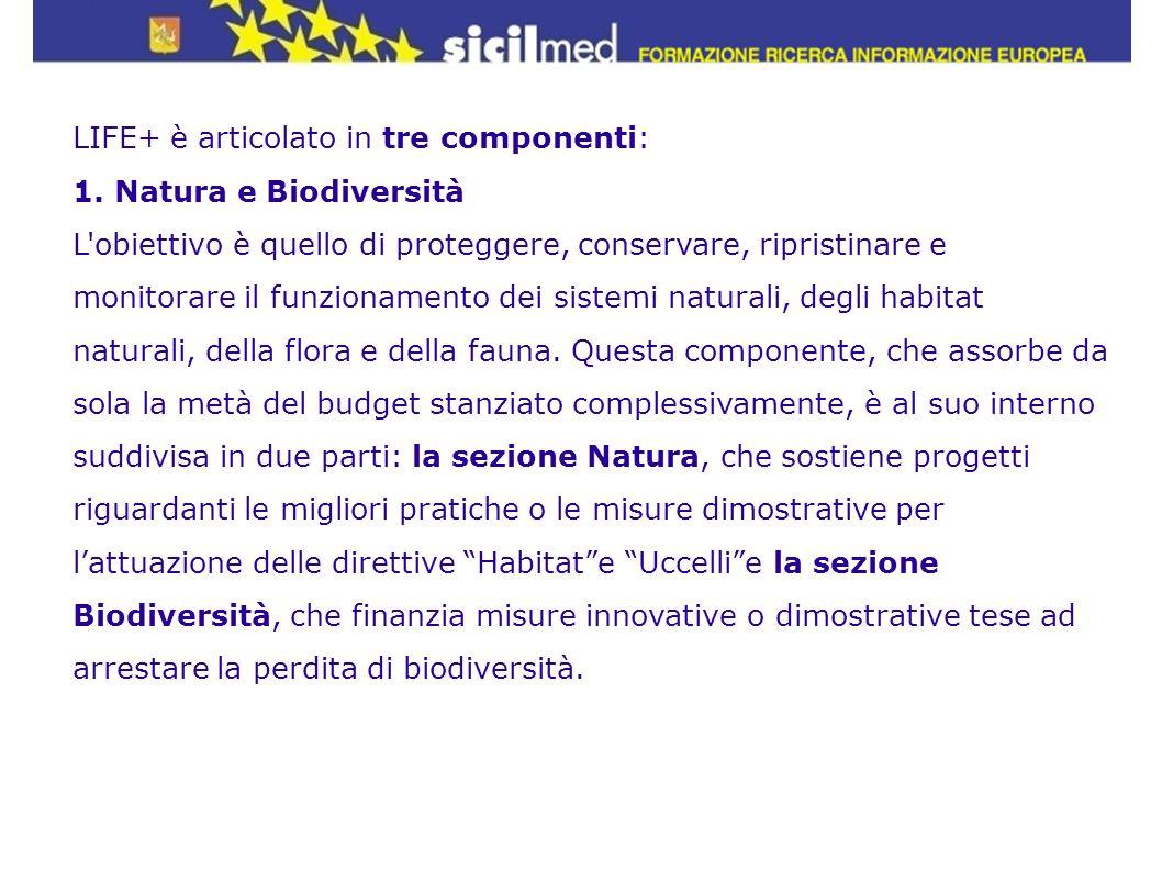 LIFE+ è articolato in tre componenti: 1. Natura e Biodiversità L'obiettivo è quello di proteggere, conservare, ripristinare e monitorare il funzioname