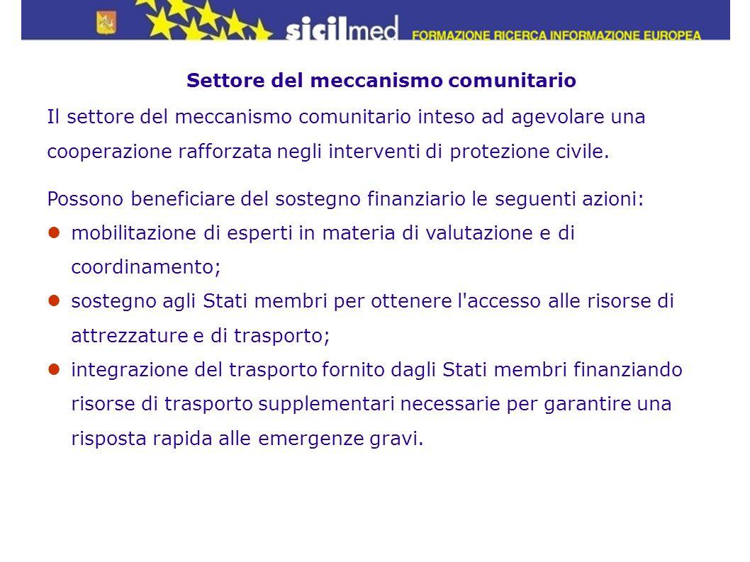 Settore del meccanismo comunitario Il settore del meccanismo comunitario inteso ad agevolare una cooperazione rafforzata negli interventi di protezion