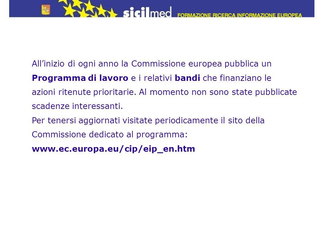 Allinizio di ogni anno la Commissione europea pubblica un Programma di lavoro e i relativi bandi che finanziano le azioni ritenute prioritarie. Al mom