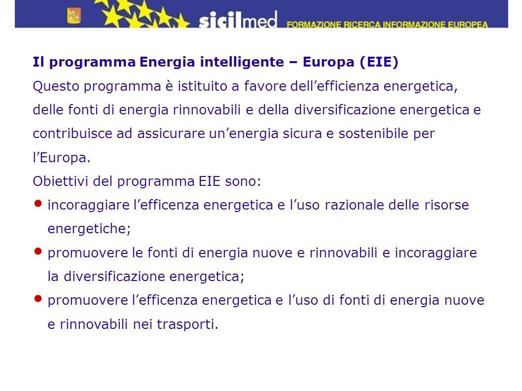 Il programma Energia intelligente – Europa (EIE) Questo programma è istituito a favore dellefficienza energetica, delle fonti di energia rinnovabili e