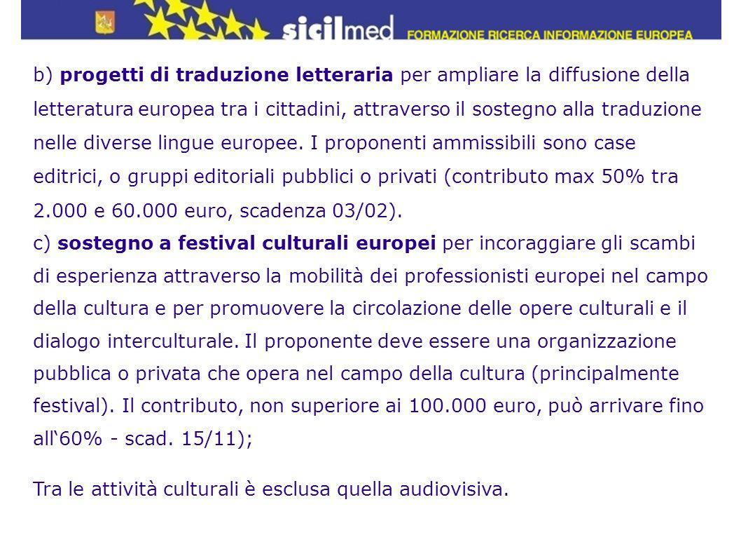 b) progetti di traduzione letteraria per ampliare la diffusione della letteratura europea tra i cittadini, attraverso il sostegno alla traduzione nell