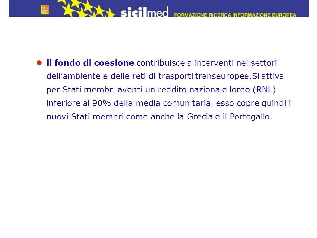 il fondo di coesione contribuisce a interventi nei settori dellambiente e delle reti di trasporti transeuropee.Si attiva per Stati membri aventi un re