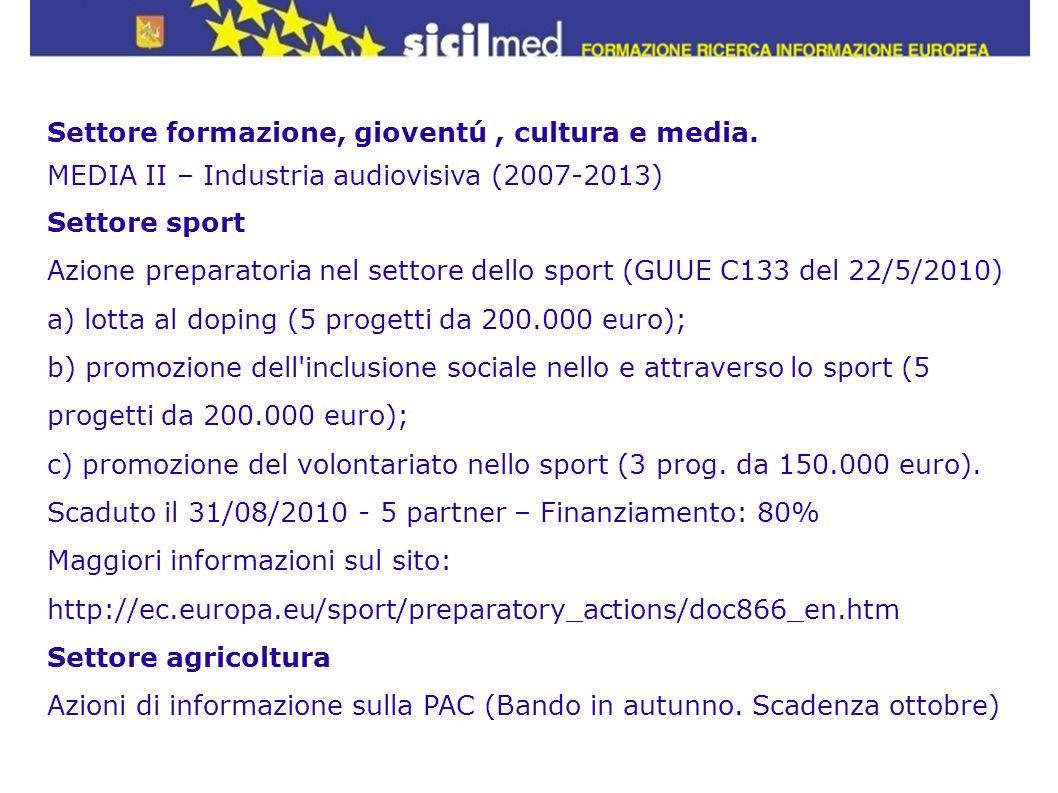 Settore formazione, gioventú, cultura e media. MEDIA II – Industria audiovisiva (2007-2013) Settore sport Azione preparatoria nel settore dello sport