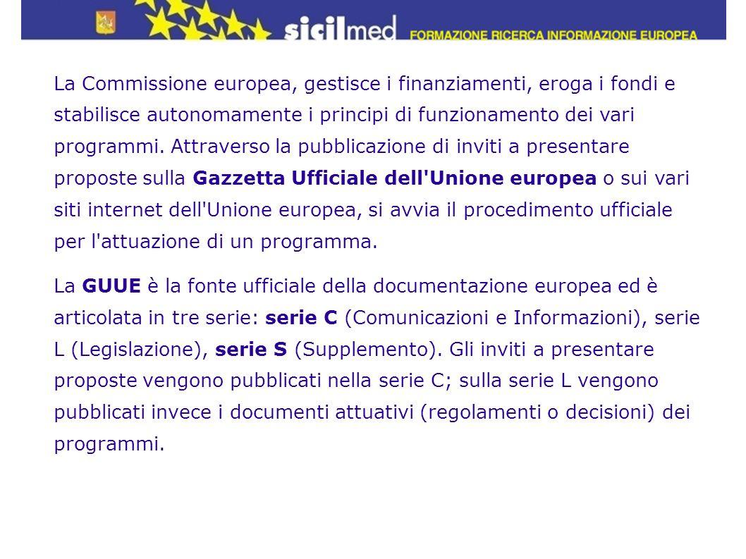 La Commissione europea, gestisce i finanziamenti, eroga i fondi e stabilisce autonomamente i principi di funzionamento dei vari programmi. Attraverso