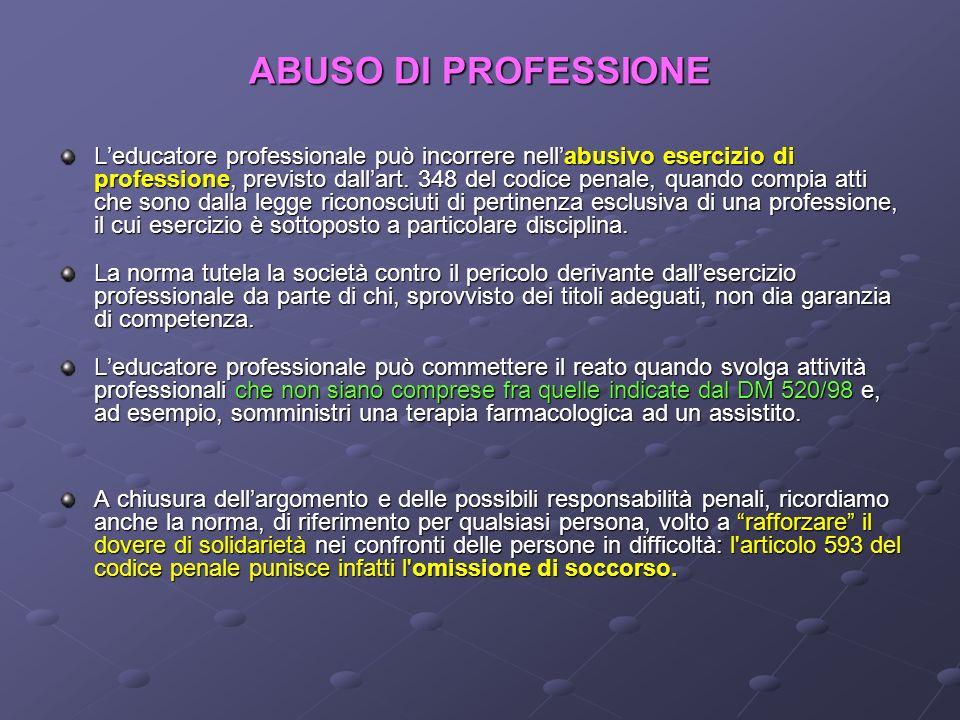 ABUSO DI PROFESSIONE Leducatore professionale può incorrere nellabusivo esercizio di professione, previsto dallart. 348 del codice penale, quando comp