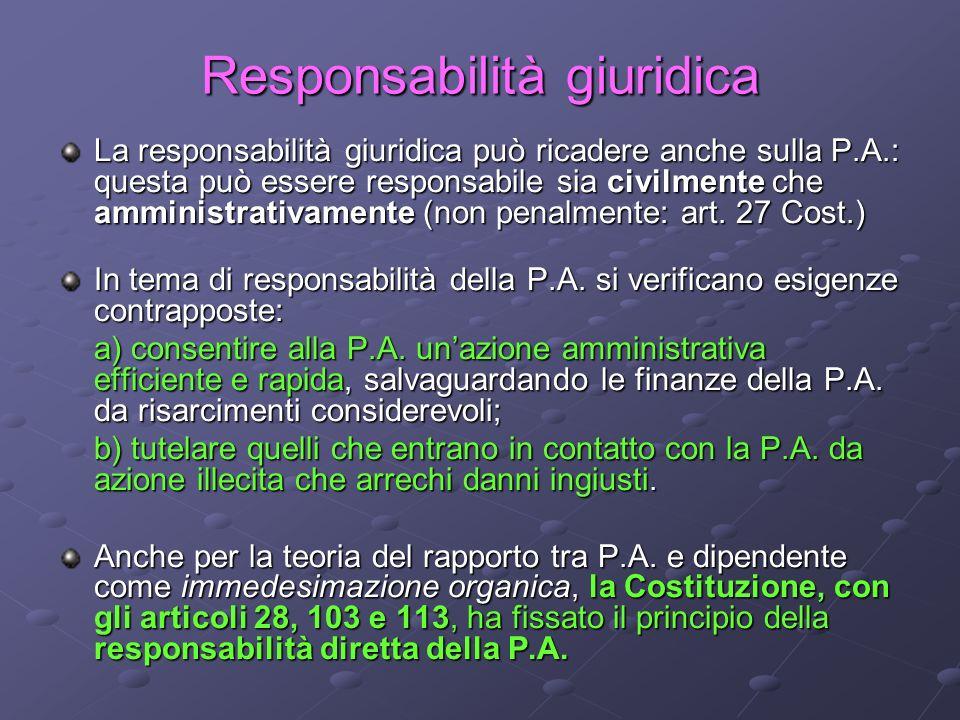 Responsabilità giuridica La responsabilità giuridica può ricadere anche sulla P.A.: questa può essere responsabile sia civilmente che amministrativame