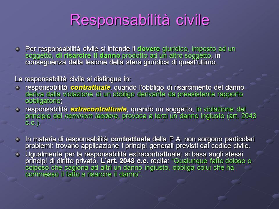 Responsabilità civile Per responsabilità civile si intende il dovere giuridico, imposto ad un soggetto, di risarcire il danno prodotto ad un altro sog