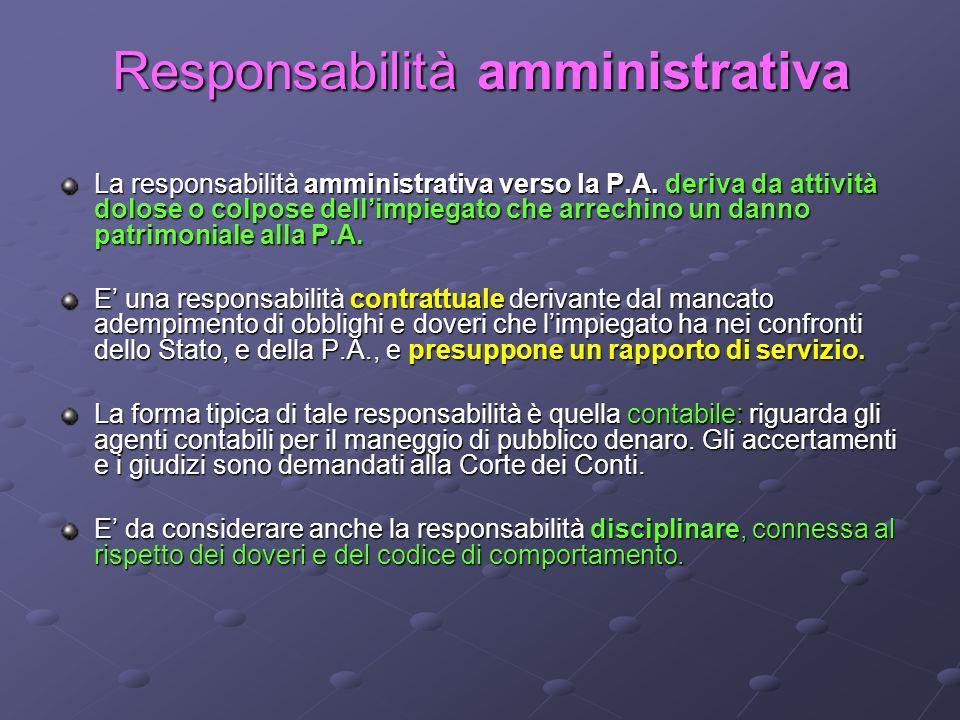 Responsabilità amministrativa La responsabilità amministrativa verso la P.A. deriva da attività dolose o colpose dellimpiegato che arrechino un danno