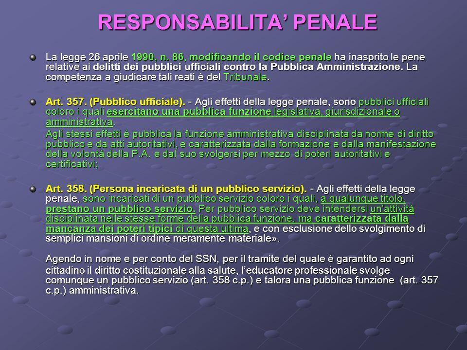 RESPONSABILITA PENALE La legge 26 aprile 1990, n. 86, modificando il codice penale ha inasprito le pene relative ai delitti dei pubblici ufficiali con