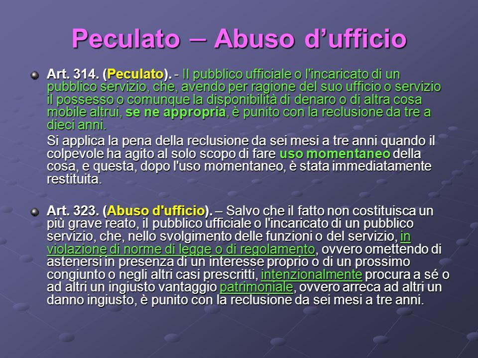 Peculato – Abuso dufficio Art. 314. (Peculato). - Il pubblico ufficiale o l'incaricato di un pubblico servizio, che, avendo per ragione del suo uffici