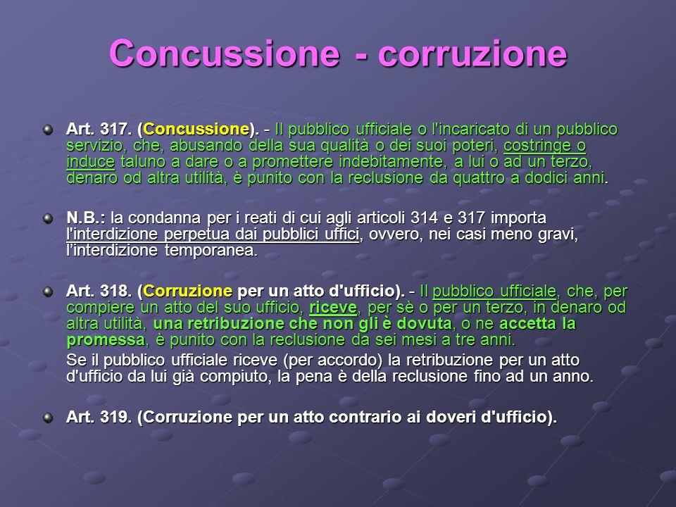 Concussione - corruzione Art. 317. (Concussione). - Il pubblico ufficiale o l'incaricato di un pubblico servizio, che, abusando della sua qualità o de