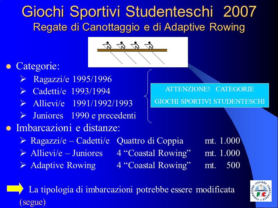 Giochi Sportivi Studenteschi 2007 Regate di Canottaggio e di Adaptive Rowing Categorie: Ragazzi/e 1995/1996 Cadetti/e 1993/1994 Allievi/e 1991/1992/19