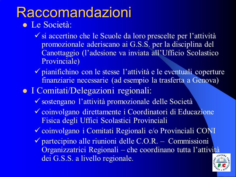 Raccomandazioni Le Società: si accertino che le Scuole da loro prescelte per lattività promozionale aderiscano ai G.S.S. per la disciplina del Canotta